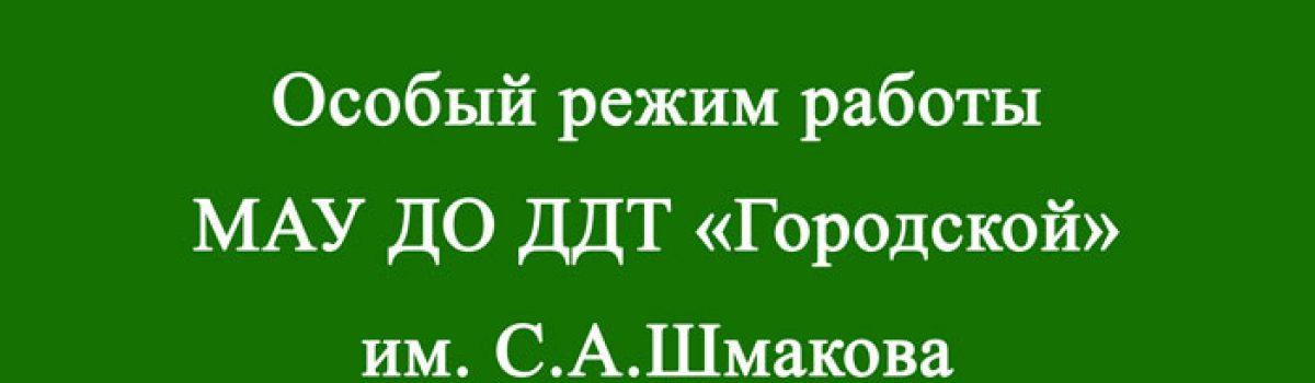 Особый режим работы МАУ ДО ДДТ «Городской» им. С.А.Шмакова  г.Липецка в 2021-2022 учебном году